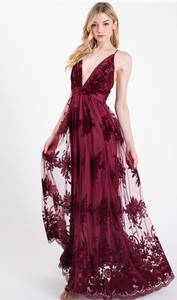 Moonlight Burgundy Maxi Dress