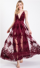 Load image into Gallery viewer, Moonlight Burgundy Maxi Dress