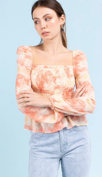 Sunset Tie Dye Smocked Chiffon Blouse