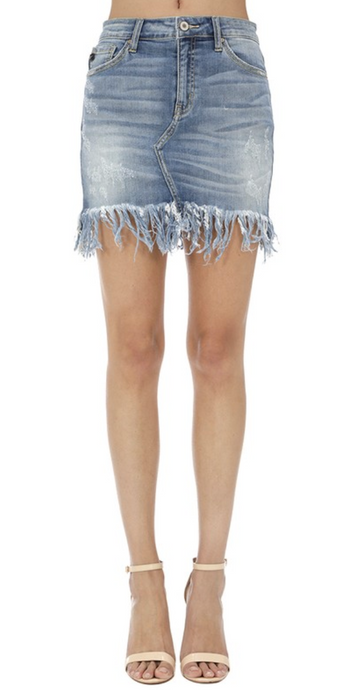 Flirty and Fun Fringe Jean Skirt