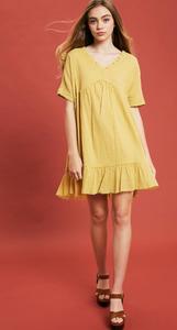 Spring Sunflower Baby Doll Dress