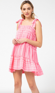 Steal Your Heart Pink Tie Dress