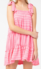 Load image into Gallery viewer, Steal Your Heart Pink Tie Dress
