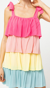 Center Of Attention Color Block Tie Dress