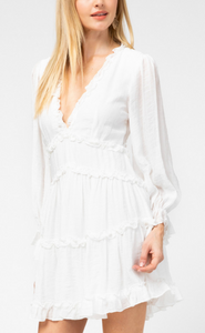 On Cloud 9 White Open Back Ruffle Dress