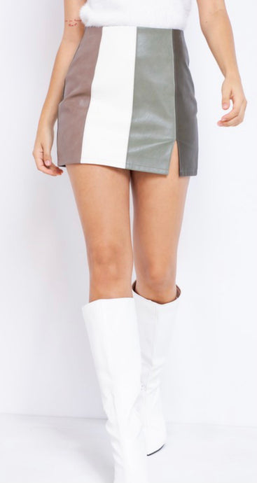Jackie Olive Striped Mini skirt