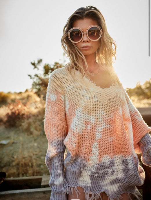 Riding Into The Sunset Distressed Sweater