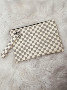 White checkered clutch