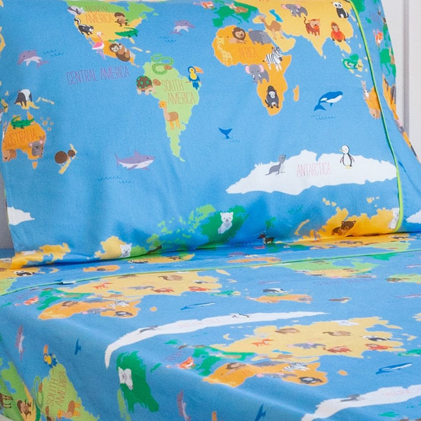 Smart Sheets - Animal World Map Flat Sheet