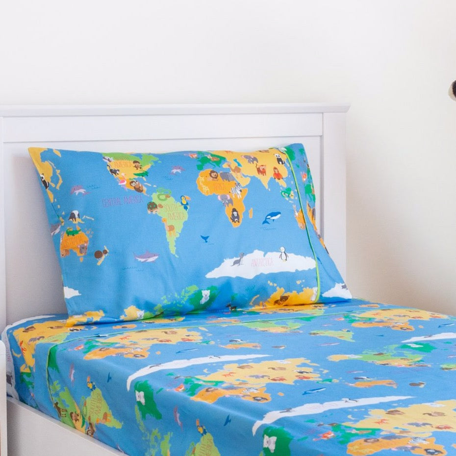 Smart Sheets - Animal World Map Fitted Sheet