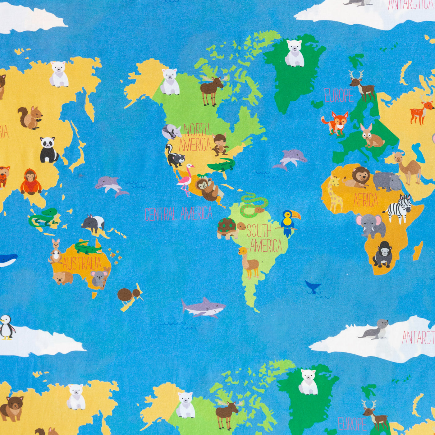 Smart Sheets - Animal World Map Pillowcase