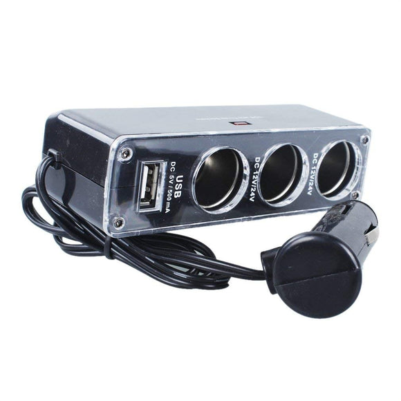 Triple Socket Auto 3 Tomas Cable Cargador Usb 12v -24v