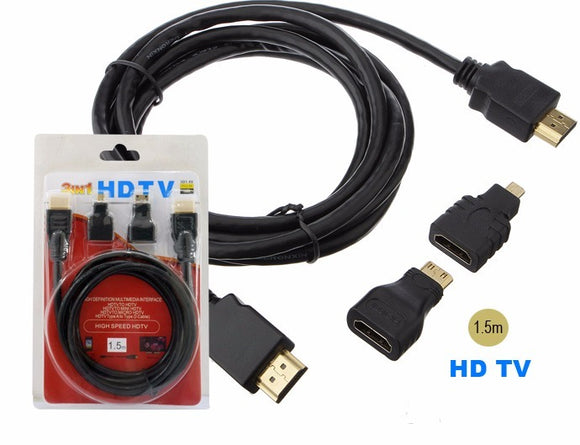 Cable Hdmi C/ Adaptador Mini Hdmi - Micro Hdmi Calidad 1,5 M