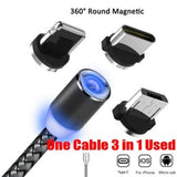 Cable Magnetico Lightning Tipo C Micro Usb Metalico Luz Led