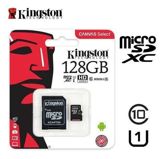 Memoria Micro Sd Kingston 128gb Clase 10 100mb/s Canvas
