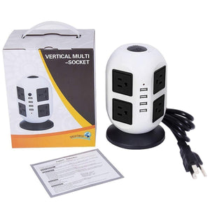 Zapatilla Torre Multi Socket 4 Usb 8 Enchufes 2 Metros Cable