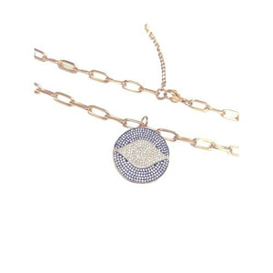 Ahena Evil Eye Necklaces - 18k gold plated stainless steel chain with cubic zircon pendant by ATELIER SYP