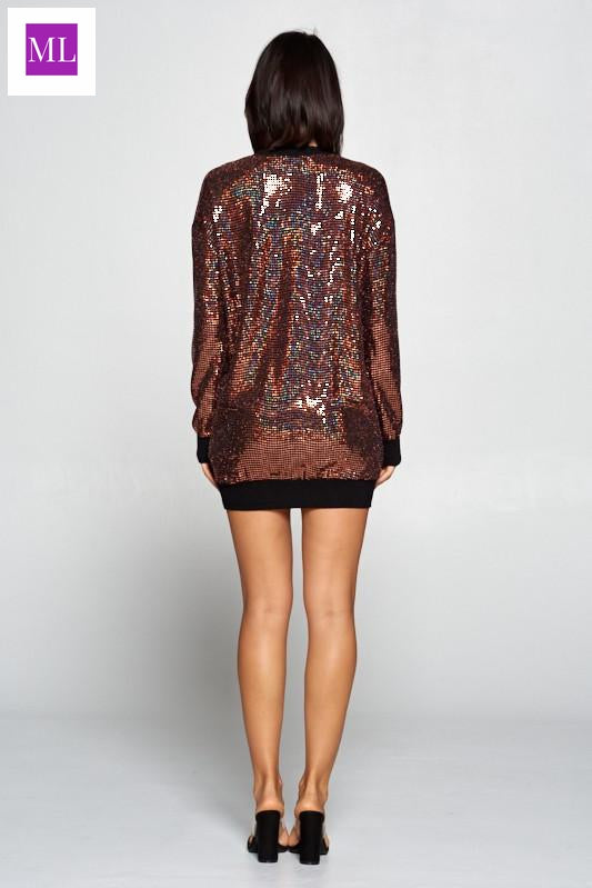 Bronze/ Copper Long sleeve hologram sequins dress with knit contrast at sleeves and collar.