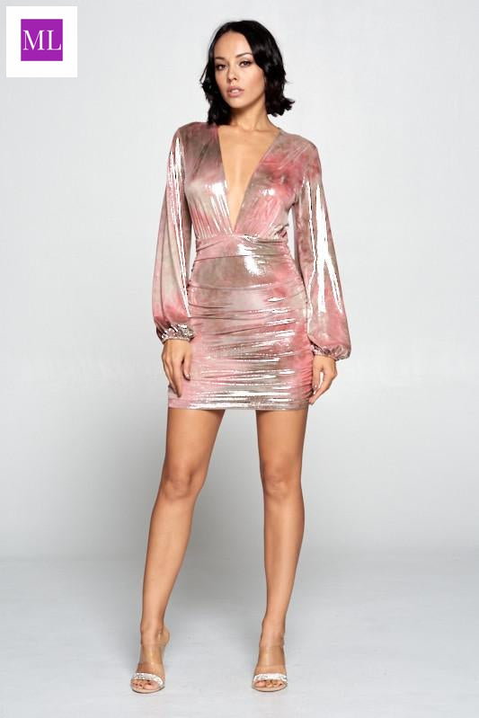 Rose colored Deep V neckline, bubble long sleeve,ruched skirt with a metallic ombre print.