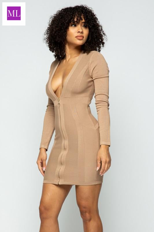 Coffee Long sleeve DEEP V CF ZIPPER Jacquard Mini DRESS