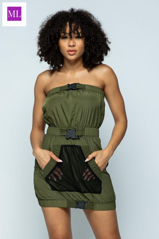 Olive Green metallic buckled tube dress with front mesh pocket