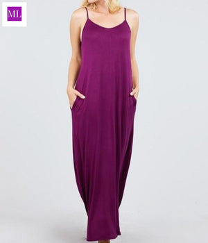 Harem Cami Maxi Dress with Side Pockets  women's dress