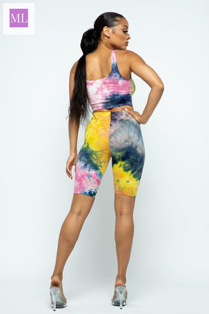 Tie Dye Crop Top and Biker Shorts Set