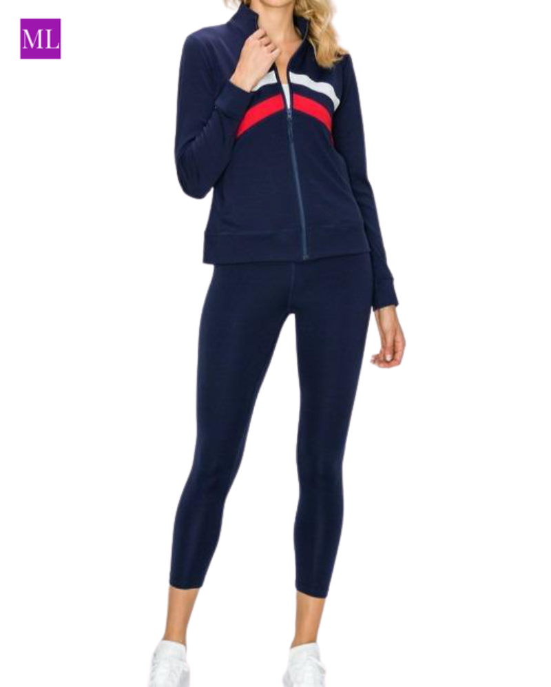 Chevron Striped Active Zip-Up Jacket and Legging Set