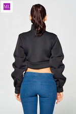 Black Cropped Pleated Long Sleeve jacket with zipper and puffed pleat sleeves