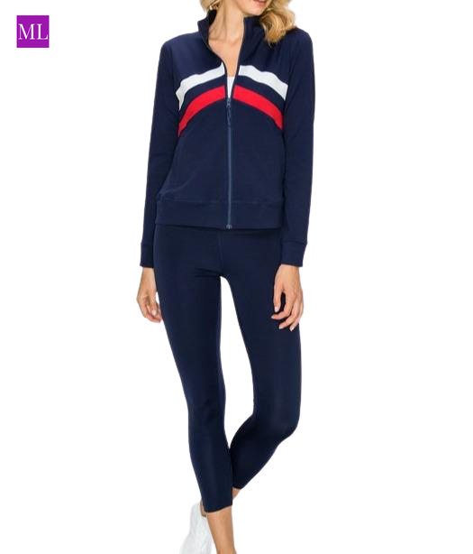 Navy blue with red detail  athletic set with jacket and leggingss