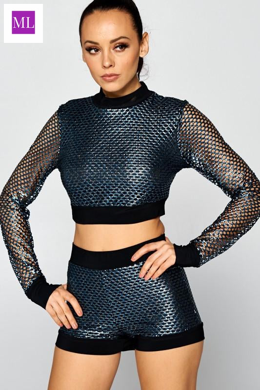Mettallic look Fishnet long sleeve crop top and shorts set