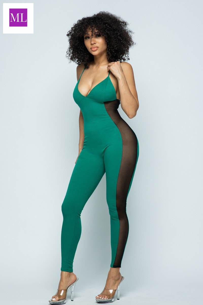 Kelly Green Jumpsuit with sheer side detail and spaghetti straps.