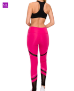Hot Pink Color Block Full Length Legging with Glossy Inlay