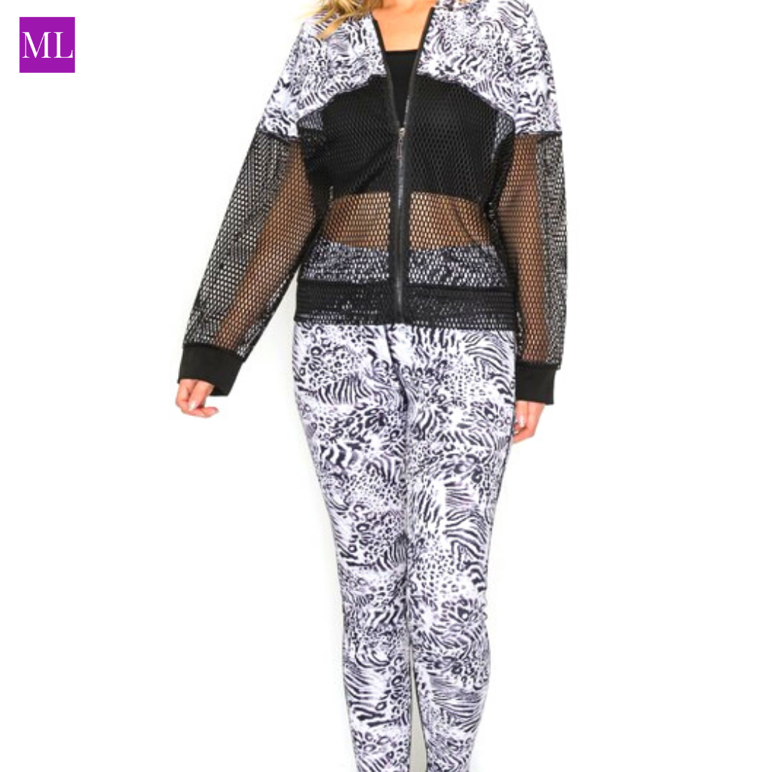 Color Block Black and White Crop Hoodie and Legging 2 pc. Set