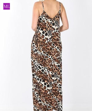 sleeveless v-neckline maxi dress has a leopard print, cocoon like fit and side pockets