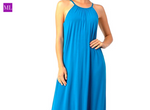 Sky Blue Halter Neck Maxi Dress with Round Split Hem