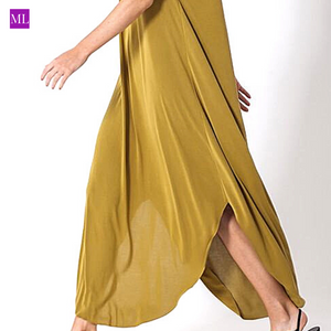 Olive Halter Neck Maxi Dress with Round Split Hem