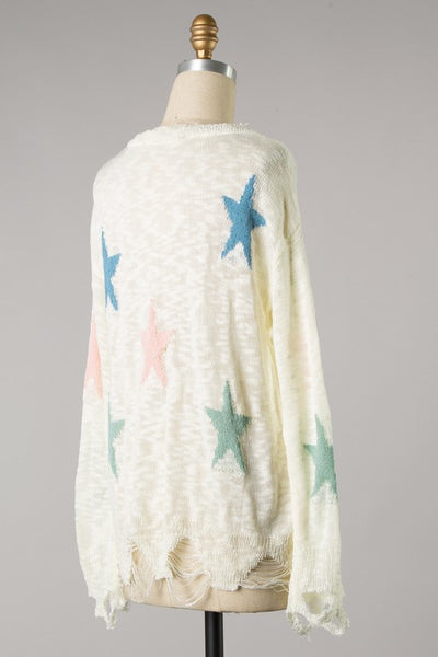 Distressed Pastel Star Sweater