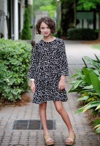Asymmetrical Ruffle Dotted Swing Dress