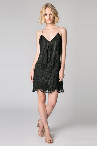 Black Lace Spaghetti Strap Dress AMV1278