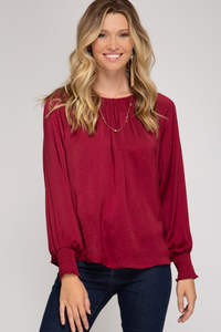 Smocked Long Sleeve Satin Top