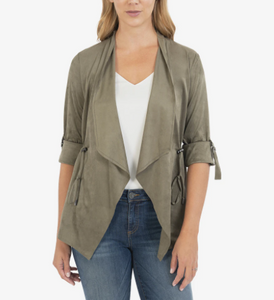 Suede Drape Side Cinch Jacket