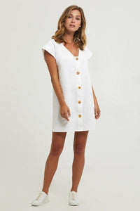 Andi Button Front Dress - White
