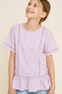 Checkered Lace Peplum Top