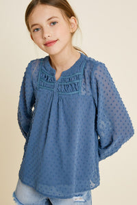 Embroidered Dobby Peasant Top