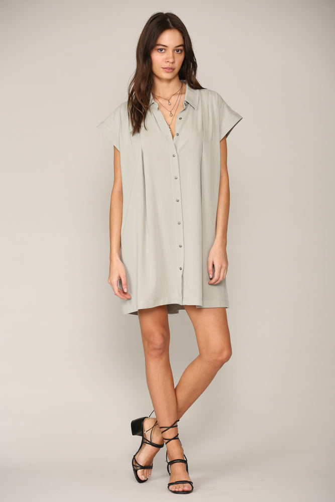 Button Down Tensel Shift Dress