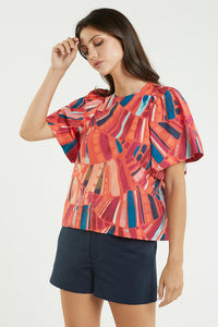 Willa Bell Sleeve Top - Cayanne Fan