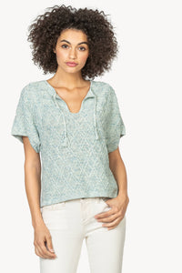 Short Sleeve Split Neck Sweate
