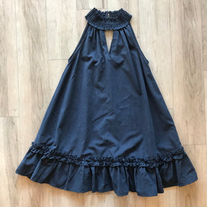 Navy Smocked Neck Dress