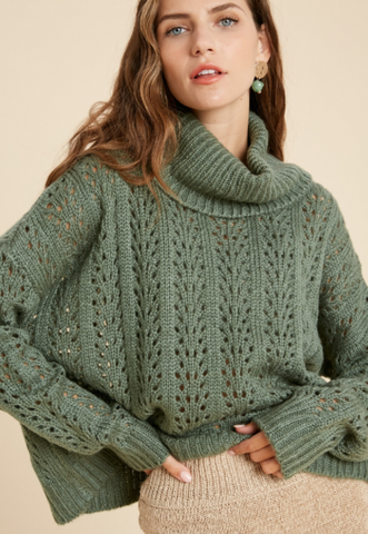 Crochet High Neck Sweater